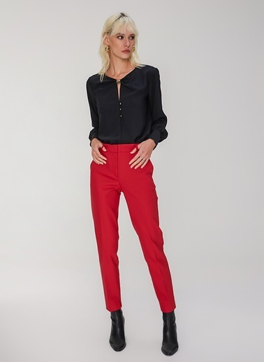 People By Fabrika Klasik Pantolon Kırmızı